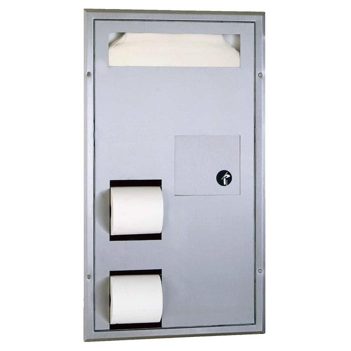 B-3571 Seat-Cover Dispenser Sanitary Napkin Disposal and Toilet Tissue Dispenser